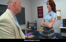 Redhead student Alana Rains gives the principal her pussy