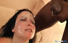 Sexy babe gets multiple cumshots on her face