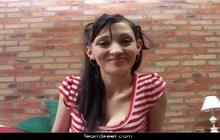 Innocent little Latina chick Nicole Perez DP threeway for OyeLoca.com