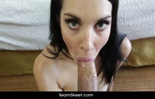 Newbie chick Nina Noxx rides a mighty long cock